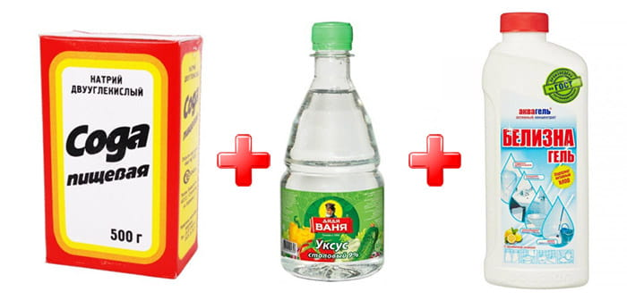 сода с уксусом и отбеливателем