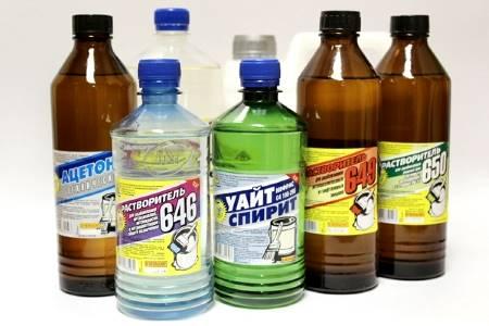 бутылки с растворителями